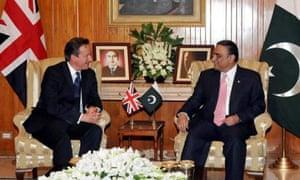 David Cameron meets Pakistan's president, Asif Ali Zardari.