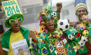 Brazil fans make their way to the game a good few hours before kick-off.