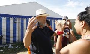 Michael Eavis talks to Kieran Yates at Glastonbury 2013