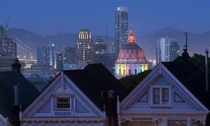 San Francisco's Civic Center is lit up in Rainbow Lights in honor of Gay Pride in California