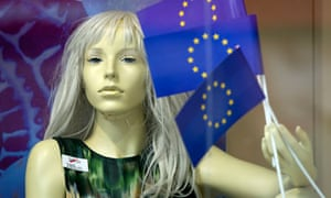 A mannequin in a Zagreb shop window, complete with EU flags