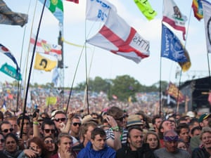 The crowd, with flags, at Glastonbury