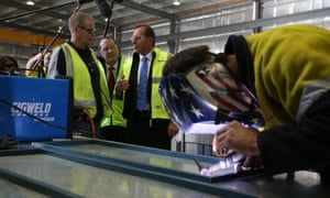 The Leader of the Opposition Tony Abbott visits ACT Steelworks in Queanbeyan, The Global Mail. Mike Bowers