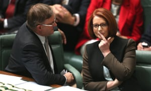 The Prime Minister Julia Gillard with the Leader of the House Anthony Albanese during Question Time.