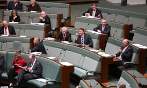The Independents on the cross bench vote with the Coalition during a division during Question Time.