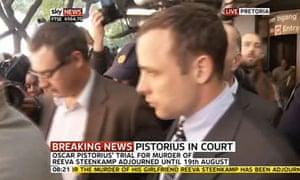 Oscar Pistorius leaves court on 4 June 2013.