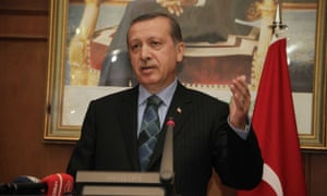 Turkish Prime Minister Recep Tayyip Erdogan gives a speech at the start of an official four-day tour of the Maghreb, in Rabat, Morocco.