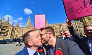 Supporters of same-sex marriage held a rally outside parliament yesterday, as the House of Lords began its two-day debate on the gay marriage bill.