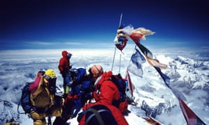 Climbers on Mt Everest's summit