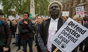 legal aid cuts protest outside parliament last month
