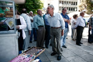 Retired seamen demonstrate in front of their healthcare fund building in Piraeus, Greece, 04 June 2013. Greece's international lenders arrive in Athens on 04 June to resume talks with the Greek government on the fiscal adjustment program.