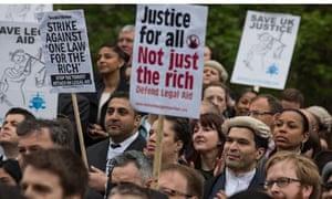 Protest against legal aid cut, London