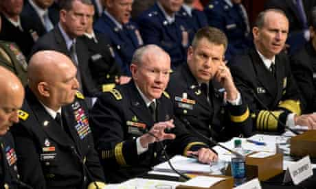 General Martin Dempsey makes a point to the Senate armed services committee