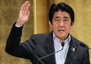 Japanese Prime Minister Shinzo ABe delivers a speech during a seminar in Tokyo Wednesday, June 5, 2013.