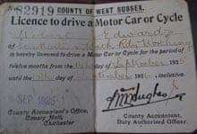 Bob Edwards' first driving licence