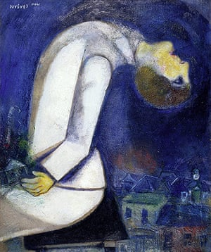 Marc Chagall: Man with Head Thrown Back, 1919. Oil on board mounted on wood