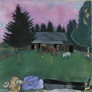 Marc Chagall: The Poet Reclining, 1915. Oil on board