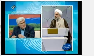 Hasan Rouhani (right) speaks during the Iranian presidential debate on 5 June 2013.