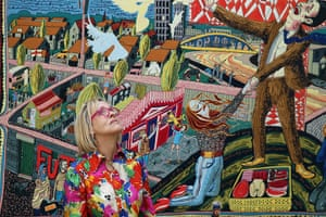 Summer Show: A visitor looks at one of six new tapestries by Turner Prize winning artist