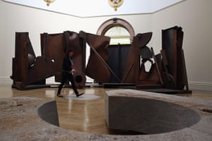 Summer Show: A visitor walks past Shadows by Sir Anthony Caro