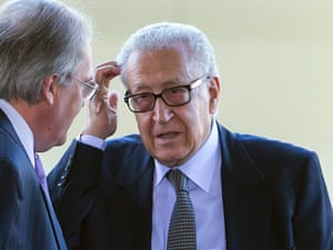 UN Joint Special Representative for Syria Lakhdar Brahimi arrives for a meeting with the Russian deputy foreign ministers Mikhail Bogdanov, and Gennady Gatilov, and U.S. Under Secretary of State for Political Affairs Wendy Sherman, to find a political solution to the crisis in Syria, at the European headquarters of the United Nations, in Geneva.
