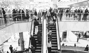 Black and white photo of the escalators in Brent Cross Shopping Centre