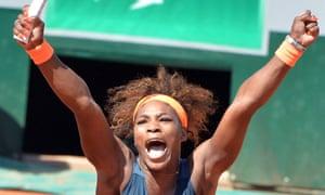Serena Williams celebrates after winning her quarter-final against Svetlana Kuznetsova of Russia