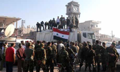 Soldiers loyal to Assad in Qusair
