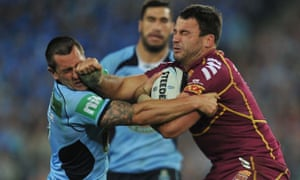 David Shillington fends off Paul Gallen