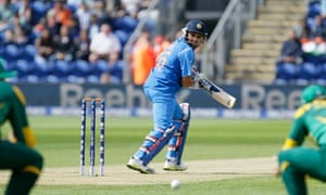 India's Rohit Sharma edges through the South African slips.