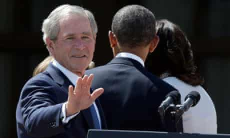George W Bush, Barack Obama, Michelle Obama