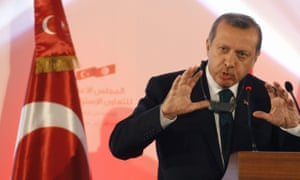Turkish prime minister Recep Tayyip Erdogan speaks during a news conference in Tunis.