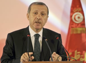 Turkish Prime Minister Recep Tayyip Erdogan speaks during a joint press conference with his Tunisian counterpart in Tunis.