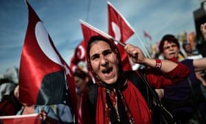 People wave Turkish flags in protests against prime minister Recep Tayyip Erdogan in Istanbul