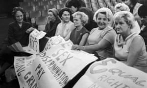 Baroness Edith Summerskill (l) chats to striking sewing machinists at Ford's Dagenham plant