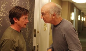 Michael J Fox with Larry David in Curb Your Enthusiasm.