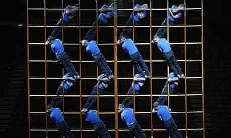 2012 British Military Tournament gymnasts on ladder