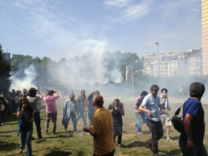 Turkey demonstrations: gezi park teargas