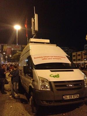 Turkey demonstrations: media van turkey