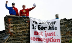 Campaigners from Fathers 4 Justice on the roof of  Harriet Harman's house, June 2008.