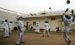 Former al-Qaida members play volleyball at a camp in Riyadh