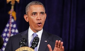 Barack Obama discusses the NSA surveillance controversy at a press conference in California.