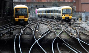 Trains outside Victoria station in London