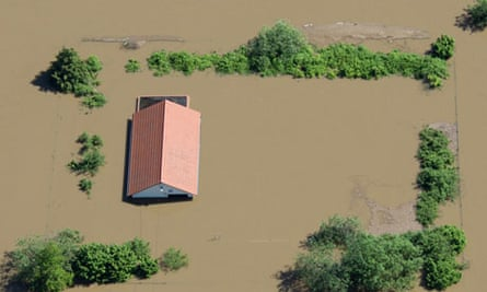 TOPSHOTS Aerial view shows a flooded hou
