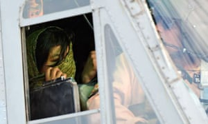 Rimsha Masih is taken away by helicopter after being released from prison on bail in September.