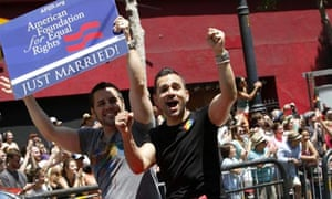 Proposition 8 lawsuit plaintiffs Paul Katami and Jeff Zarrillo greet the crowd in San Francisco.