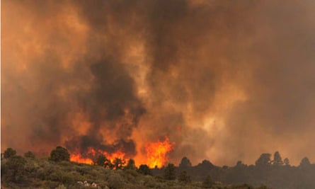 Flames on a ridge in the Yarnell Hill fire on Sunday.
