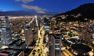 Panoramic night view of Bogota, the capital of Colombia.
