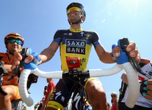 Spanish cyclist Alberto Contador of the Saxo-Tinkoff  team is photographed at the start of the third stage of the  the Tour de France 2013 between Ajaccio and Calvi, Corsica. Follow the race live.