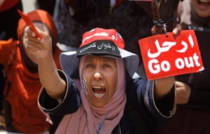 Egypt update: An Egyptian protester shouts slogans in Tahrir Square